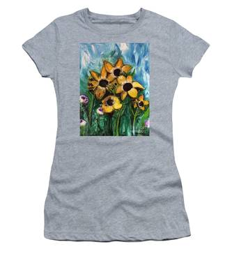 Dancing Flowers Women's T-Shirt by Laurie Lundquist