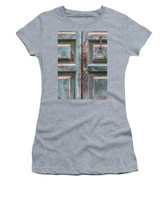 Weathered Rustic Green Door Of Cortona Women's T-Shirt