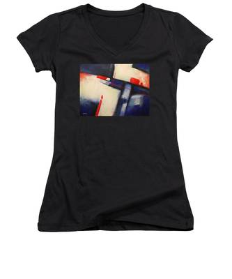Abstract Red Blue Women's V-Neck