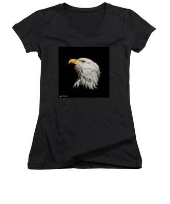 Bald Eagle Looking Skyward Women's V-Neck