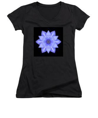 Blue Clematis Flower Mandala Women's V-Neck