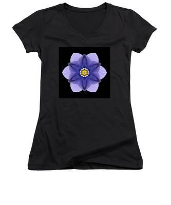 Blue Pansy I Flower Mandala Women's V-Neck