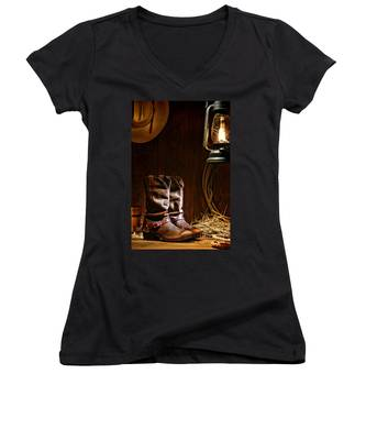 Cowboy Boots At The Ranch Women's V-Neck