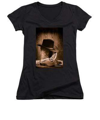 Cowboy Hat And Boots Women's V-Neck