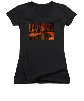 Flowing Through The Colors Of Fall Women's V-Neck