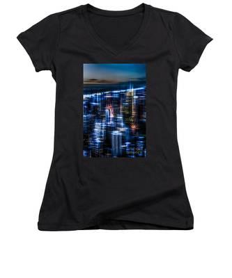 New York - The Night Awakes - Blue I Women's V-Neck