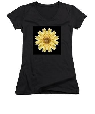 Pale Yellow Gerbera Daisy I Flower Mandala Women's V-Neck