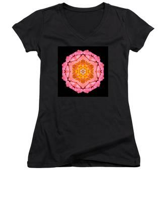 Pink And Orange Rose I Flower Mandala Women's V-Neck