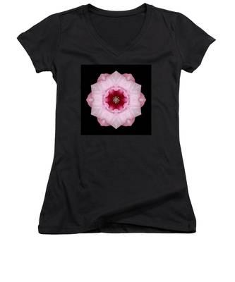Pink Hibiscus I Flower Mandala Women's V-Neck