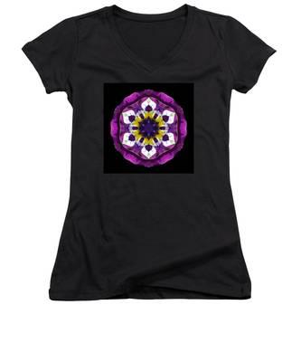 Purple Pansy II Flower Mandala Women's V-Neck