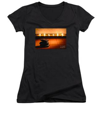 Stone Cairn And Candles For Quiet Meditation Women's V-Neck