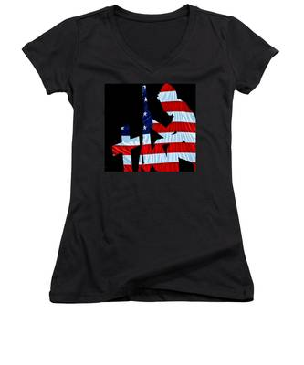 A Time To Remember United States Flag With Kneeling Soldier Silhouette Women's V-Neck