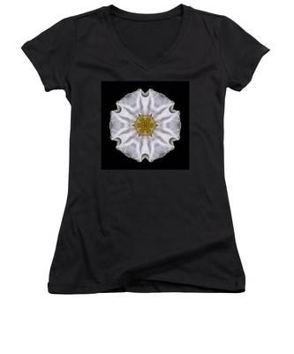 White Beach Rose I Flower Mandala Women's V-Neck