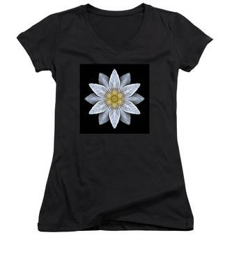 White Clematis Flower Mandala Women's V-Neck