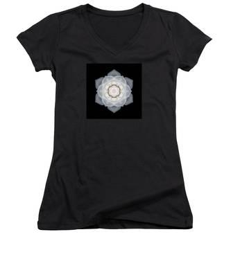 White Rose I Flower Mandala Women's V-Neck