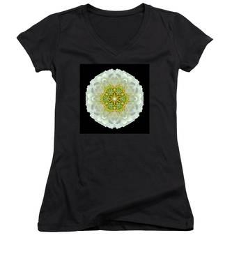 White Zinnia Elegans V Flower Mandala Women's V-Neck