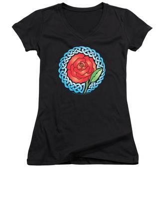 Celtic Rose Stained Glass Women's V-Neck