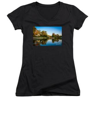 Centerport Harbor Autumn Colors Women's V-Neck