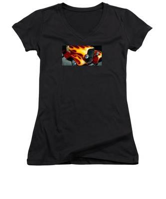 Flaming Hot Rod Women's V-Neck