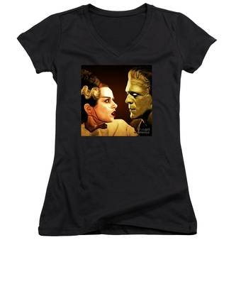 Frankenstein And The Bride I Have Love In Me The Likes Of Which You Can Scarcely Imagine 20170407 Sq Women's V-Neck