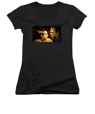 Frankenstein And The Bride I Have Love In Me The Likes Of Which You Can Scarcely Imagine 20170407 Women's V-Neck