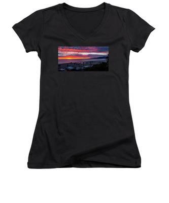 Golden Horizon At Sunset -  Panorama Women's V-Neck