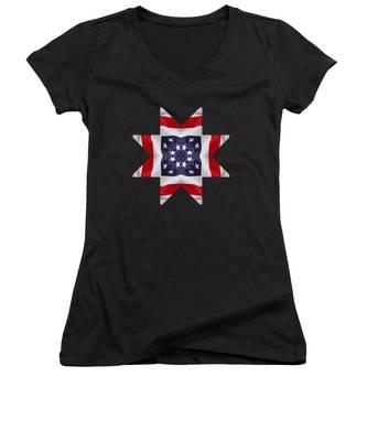 Patriotic Star 2 - Transparent Background Women's V-Neck