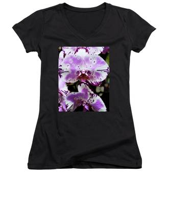 Purple And White Orchid Women's V-Neck