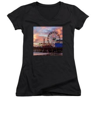 Ferris Wheel On The Pier - Square Women's V-Neck
