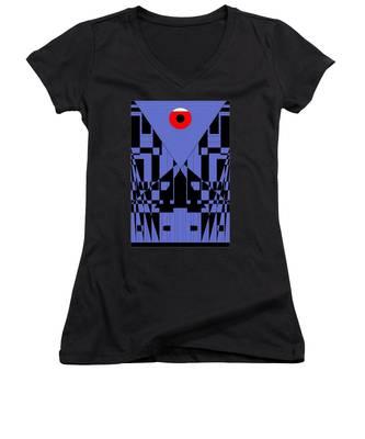 Geometric Red Dot  Women's V-Neck