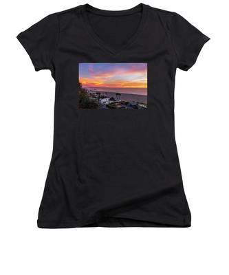 Santa Monica Pier Sunset - 11.1.18  Women's V-Neck