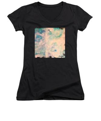 Turquoise Cosmic Cloud Women's V-Neck