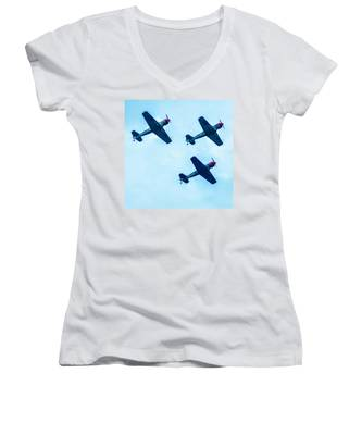 Action In The Sky During An Airshow Women's V-Neck