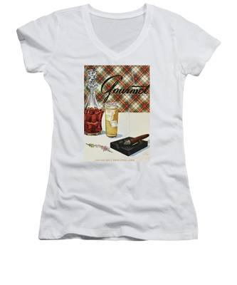 A Cigar In An Ashtray Beside A Drink And Decanter Women's V-Neck