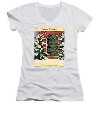 A House And Garden Cover Of A Christmas Tree Women's V-Neck
