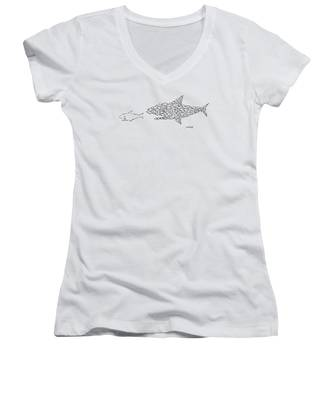A Shark Is Chased By A School Of Fish That Women's V-Neck