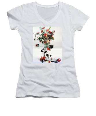 A Studio Shot Of A Vase Of Flowers And A Garden Women's V-Neck