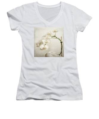 Beautiful White Orchid II Women's V-Neck