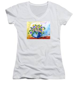Bouquet Of Flowers In A Vase Women's V-Neck