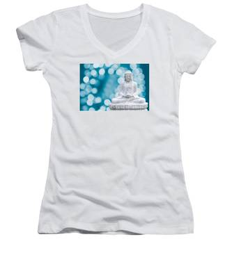 Buddha Enlightenment Blue Women's V-Neck