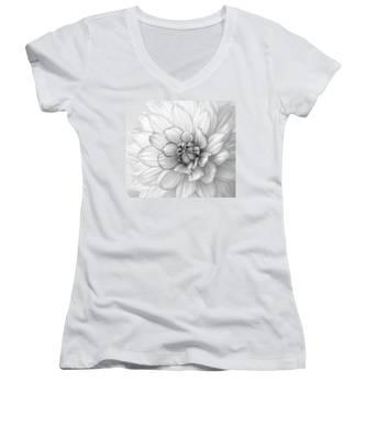 Dahlia Flower Black And White Women's V-Neck