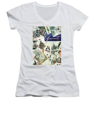 Gourmet Cover Illustration Of Drawings Portraying Women's V-Neck