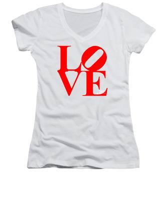 Love 20130707 Red White Women's V-Neck
