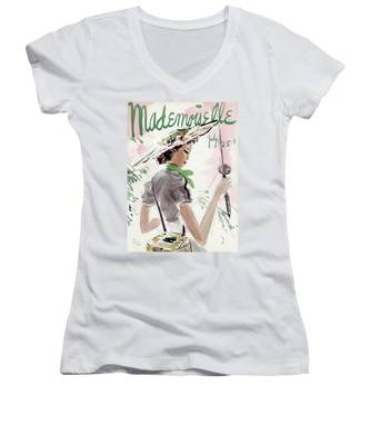 Mademoiselle Cover Featuring A Woman Holding Women's V-Neck