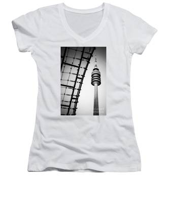 Munich - Olympiaturm And The Roof - Bw Women's V-Neck