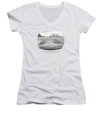 Ooh, Look, Tom.  A Bright-yellow Rubber Worm Women's V-Neck