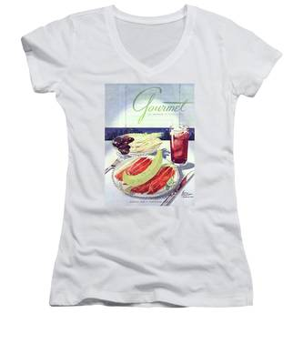 Prosciutto, Melon, Olives, Celery And A Glass Women's V-Neck
