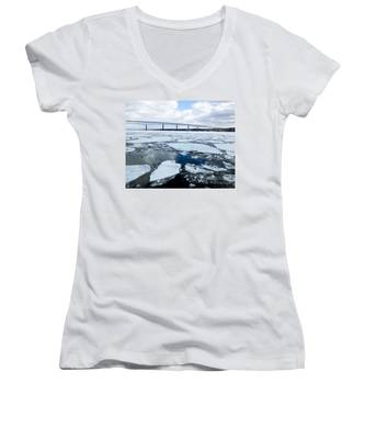 Rhinecliff Bridge Over The Icy Hudson River Women's V-Neck