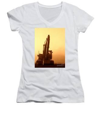 Sunset Excavator Women's V-Neck