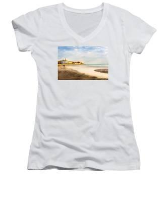 Take A Walk At The Beach Women's V-Neck
